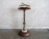 Vintage Art Deco Horse Ashtray Stand in Brass Finish with Glass Ashtray. Circa 1930's.