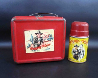 Vintage 1950 Hopalong Cassidy Lunchbox with Thermos in Red