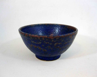 Vintage Mid Century Pottery Bowl in Dark Blue. Circa 1960's.