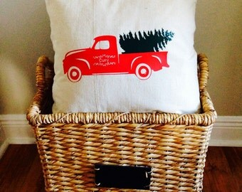 "Personalized Nostalgic Truck with Christmas Tree Pillow Cover, 18"" x 18"""