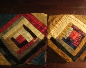 Antique 1920s Log Cabin Quilt Blocks - Old And Worn