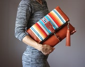 Large Leather fold over clutch, Indian blanket  fold over bag, fold over purse wool  leather clutch,  leather tassel, cowhide clutch