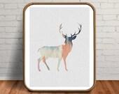 Deer Print, Deer Art, Deer Wall Art, Deer Painting, Deer Poster, Pastel Decor, Woodland Nursery, Woodland Animals, Woodland Prints, Deer