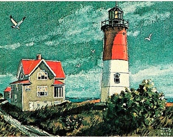 Vintage Cape Cod Postcard - Nauset Light -- Artist Signed, Harold Durand White (Unused)