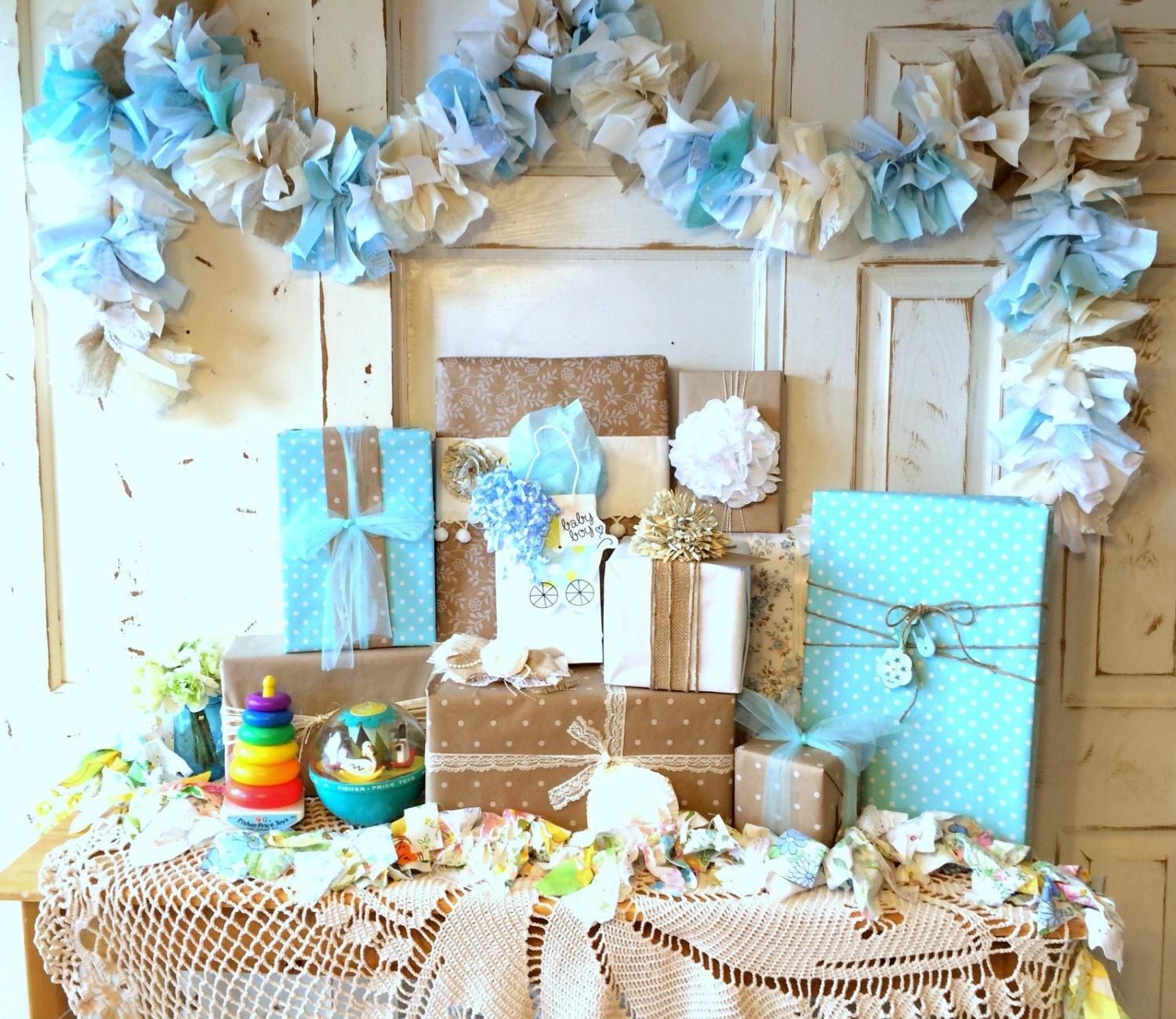Burlap and blue baby shower party decoration 6 10 foot fabric for Baby party decoration