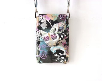 Cell phone purse - iphone wallet purse - mobile phone bag - small crossbody bag - butterfly purse - cell phone wallet purse - sling purse