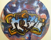SALE- Mizu  - Original  Psychedelic Street Art on Vinyl Record
