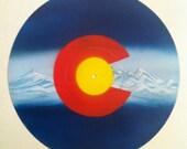 Colorado Flag - Original Painting- Handmade Art on Vinyl Record by Mr Mizu - Denver Colorado