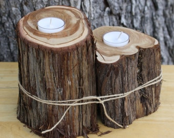 Rustic Wedding Decor, Candle, Votive Holder, centerpiece, tree stump, set of 2, for rustic, outdoor, barn, garden wedding, party, event