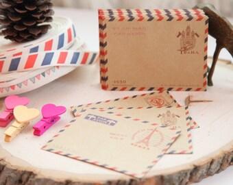 "10 - Vintage Airmail Kraft Brown Envelopes, 3-3/4"" x 3"", Thank You Note, Love Note, Enclosure Invite Envelopes, Birthday, Invite"