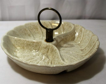 Vintage Divided Pottery Tidbit Tray, Ivory Speckled With Gold