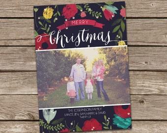 Photo Christmas Card : Floral Modern Merry Christmas Custom Photo Holiday Card Printable