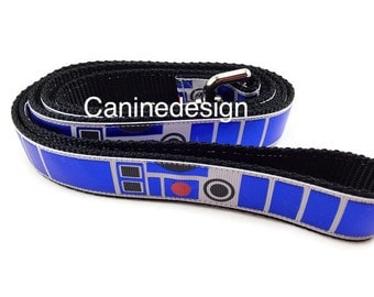 Dog Leash, R2D2, 1 inch wide, 1 foot, 4 foot, or 6 foot