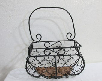 Wicker and Wire Wall Basket Plant Holder Organizer Caddie