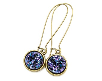 Midnight Blue Druzy Earrings Deep Purple Sapphire Druzy Gold Dangles Bright Sparkle Shimmer Luster Everyday High Fashion Style by Mei Faith