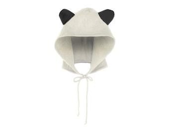 Panda Hoodie Hat - Fleece Tie Hooded Hat with Ears in Black and White - Unisex Adult & Kids Sizes