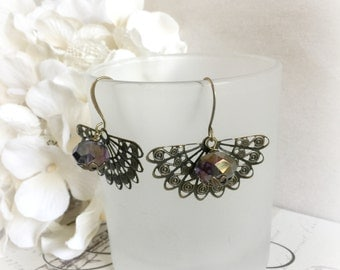Filigree Fan Earrings - Steampunk Earrings - Victorian Filigree Earrings - Brass Fan Earrings - Gift For Her - Edwardian Earrings - Purple