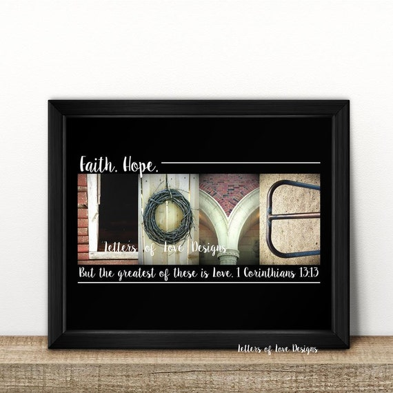 Framed Love Wall Decor : Faith hope love wall art sign corinthians
