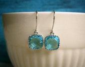 Aquamarine Blue Earrings, Petite Earrings, Silver Earrings, Wife Gift, Sister Gift, Best Friend Gift