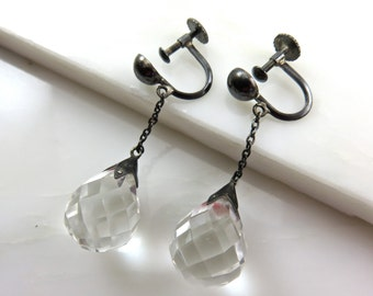 On Sale!  Originally 375.00.  Circa 1920's Faceted Crystal Dangle Earrings.