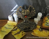 Screaming Bat Book/Scroll Stand dollhouse miniature, Halloween, spooky, witch in 1/12 scale