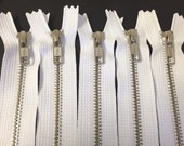 50 silver teeth zippers on white tape, 12 inch size, Add-on order for Lauren