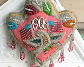 """Iroquois Beaded Native American Pillow 1906 10x11.5"""" Patriotic Eagle & US Flags"""