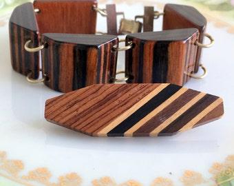 Vintage Mid Century Inlaid Wood Panel  Bracelet and Brooch
