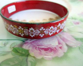 Vintage Made in Austria Enamel Child Bangle Bracelet Red & White Design