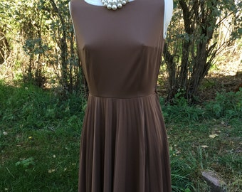 Vintage 60's Mod Shift Short Pleated Dress Brown