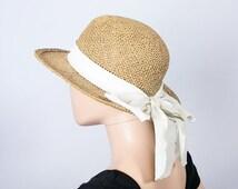 Vintage Sun Hat / Brimmed Straw Hat / Summer Hat / Beach Hat / Bow Hat