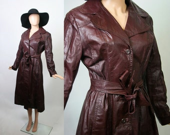 Vintage 70s Fitted Leather Coat / 60s Mod Jacket / 1970s Bohemian / Chocolate Brown / 1960s Boho Coat / Leather Trench / Spy Girl / Large