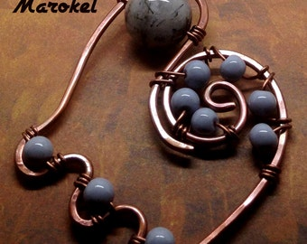 Black Hair Quartz Necklace Abstract Copper Wire Coils Gray beads Boho Design Wire Wrapped