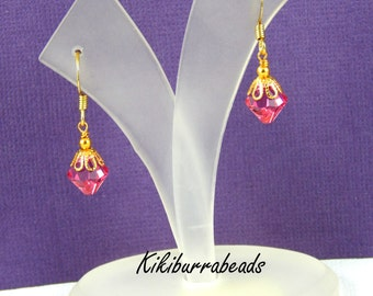 crystal earrings, Pink Swarovski Crystal Earrings, Rose Pink, Crystal Drop, Gold Earrings