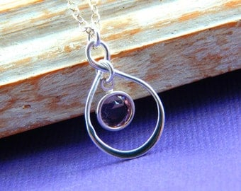 Birthstone Necklace, Personalized infinity necklace, Light amethyst  , June birthstone jewelry, birthday gift