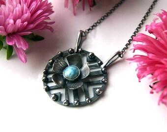 RESERVED - Sky Flower - Larimar Sterling Silver Necklace