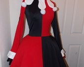 Custom Made to Order Stretch Harley Quinn Joker dress and gloves with petticoat for Kambi
