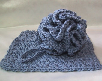 2 Piece Bath Set - Bath Puff & Facial Wash Cloth - Crocheted - Cotton Yarn - Stonewash - Pamper Yourself - Nice Gift Set