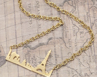 Birthday gift for her Proposal ideas Paris pendant necklace silver gold statement skyline jet setter girlfriend woman traveller jewellery