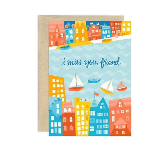 Miss You Friend Illustrated Greeting Card