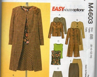 McCall's 4603 Easy Endless Options Wardrobe Lined Coat, Jacket, Skirt, Top and Pants   Size 8-10-12-14    New Uncut