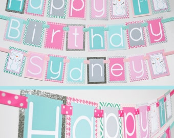 Onederland Birthday Party Banner Fully Assembled | Pink Aqua Onederland Party | Winter Birthday Party | Snowman Party | Winter Wonderland