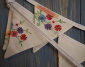 SALE....Vintage Tablecloth Bunting. Wedding Bunting. This lovely embroidered bunting is 3m long.