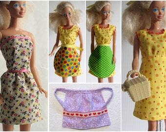 Barbie Clothes 4 Piece Dress & Apron Set - Reversible Apron, Mini Dress, Modest Dress, Yellow Purple Green Pink Grey