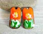 Orange Green White Enamel Earring Charms, Floral Enameled Copper Jewelry Componenets, Torch Fired Enamel, Sgraffito, Rectangle Summer
