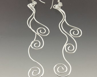 Silver Swirl Earrings, Three Spiral Earrings, Wave Earrings, Long Dangle Earrings, Drop Earrings