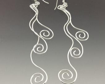 Silver Swirl Earrings, Three Spiral Earrings, Wave Earrings, Long Dangle Earrings, Drop Earrings