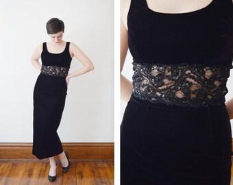 1970s Black Velvet Formal Dress - S / Velvet Prom Dress