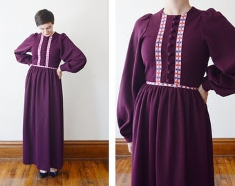 1970s Burgundy Knit Maxi Dress with Bishop Sleeves - S