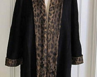 Vintage Swing Coat Made in France by Claire Paris Wool Cashmere Blend, Faux Leopard